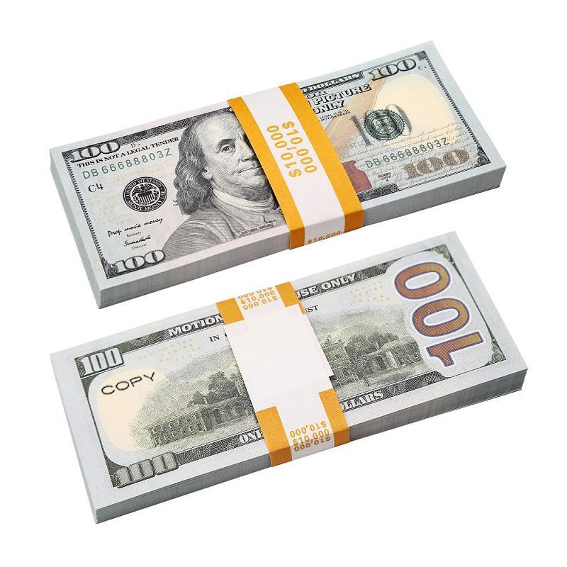 النسخة المتماثلة لنا وهمية المال الاطفال لعب لعبة أو لعبة الأسرة ورقة نسخة البنكنوت 100 قطعة / الحزمة