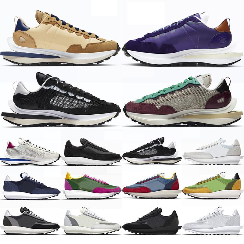 2021 Waffle Koşu Ayakkabıları Erkekler Kadınlar Siyah Beyaz Yelken Susam Karanlık Iris Kraliyet Fuşya Villain Kırmızı Erkek Bayan Eğitmenler Spor Sneakers
