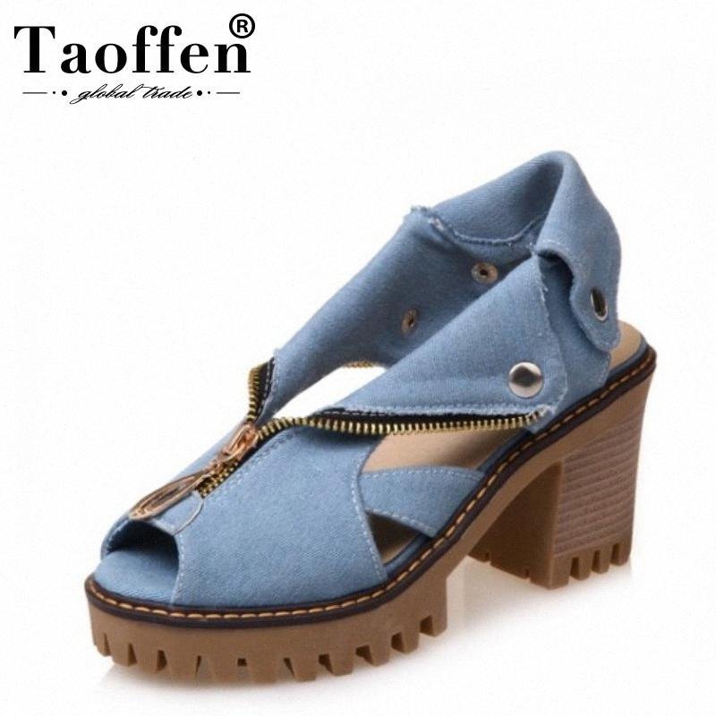 Taoten Größe 34 43 Denim High Heel Sandalen Frauen Reißverschluss Platform Sandalen Sommerschuhe Frau Slip auf Schuhe für Frauen Schuhe 672w #