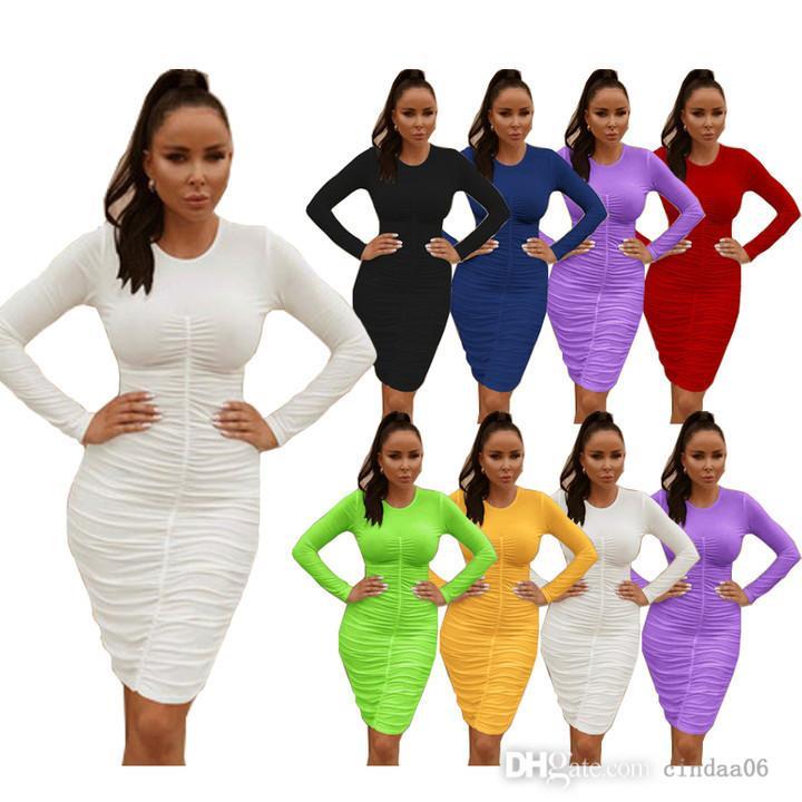 Kadın MIDI Elbiseler Katı Renk Uzun Kollu Mütevazı Elbise Seksi Zarif Ucuz Rahat Bayanlar Tek Parça Etek
