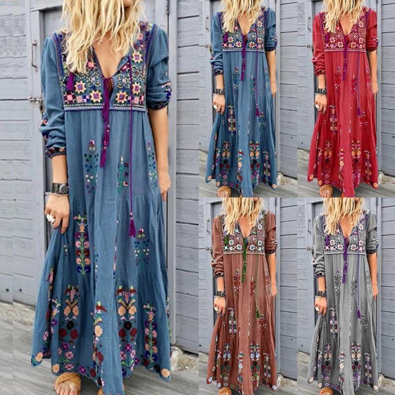 Европейские и американские платья стиль женские богемные печать платье с длинными рукавами с модной лендкой
