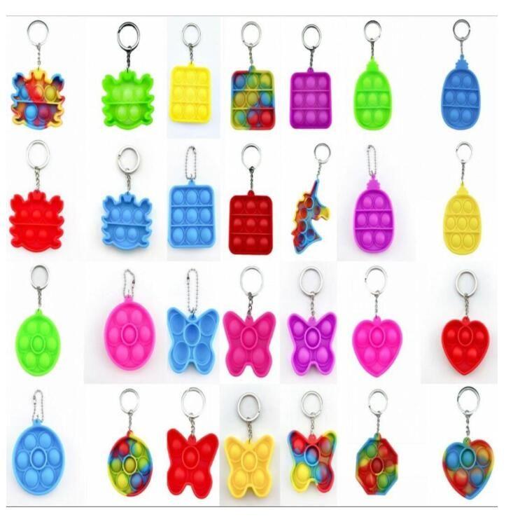 Tie-Dye Enkel Dimple Push Fidget Nyckelkedja Sensory Kid Fidget Leksaker Stress Bubble Key Ring Push Bubble Board Finger Pendant 2021 DHL SHIPPING BJ12