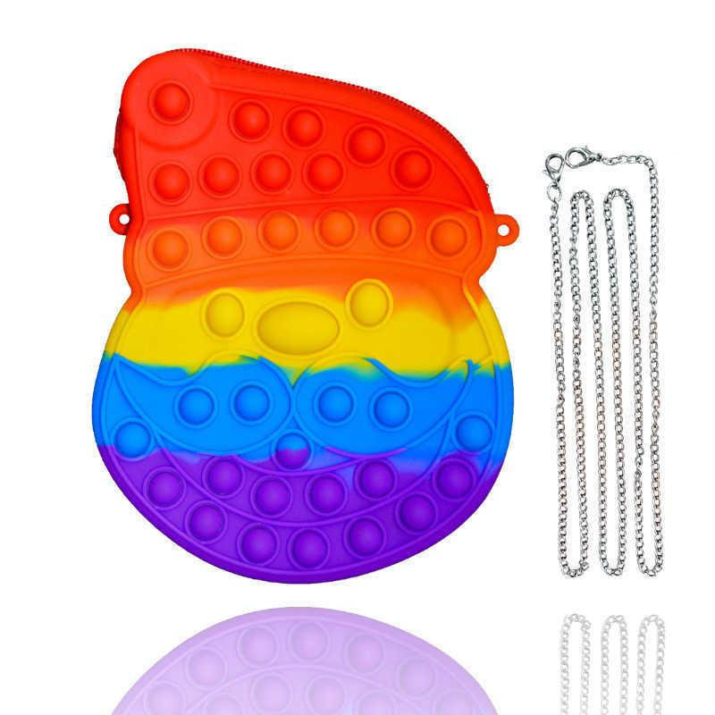Rainbow Xmas Santa Claus Fidget Chian Bag Kids Christmas Gifts Push Pop Bubble Puzzle Crossbody Fanny Pack Boys girls Cartoon Purses Silicone Rubber Bags G83NG07