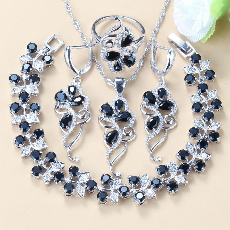 Earrings & Necklace Advanced Customization +Quality Costume Silver-Color Black Zircon Crystal Women Fashion Jewelry Sets Bracelet/Ring/Ea