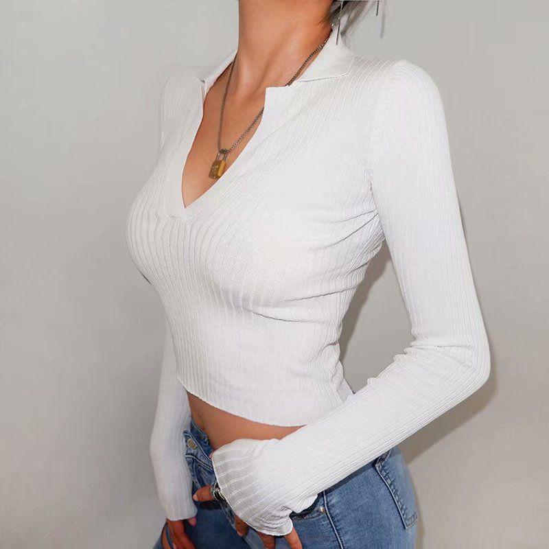 2019 Pulls à col en V profonds Big Elastic Culture tricotée Tops automne Femmes Mode Longues manches longues