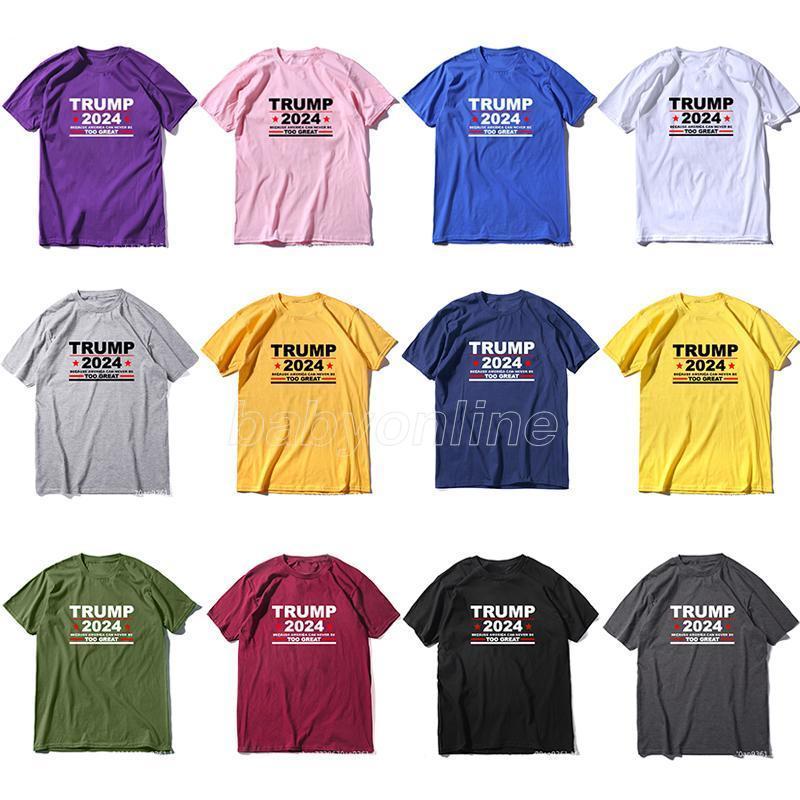 Trump 2024 novo t-shirt 2024 Trump t-shirt 12 cores puro algodão unisex adultos top camisas 3d impressão fantasia decoração