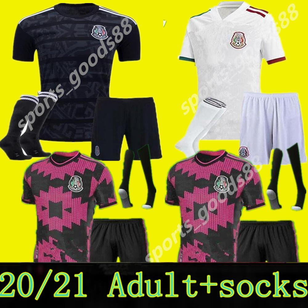 Kit de meninos Kit + meia 2020 México Futebol Jerseys 20 21 H.Lozano dos Santos Chicharito National Social Boy Futebol Futebol Camisas