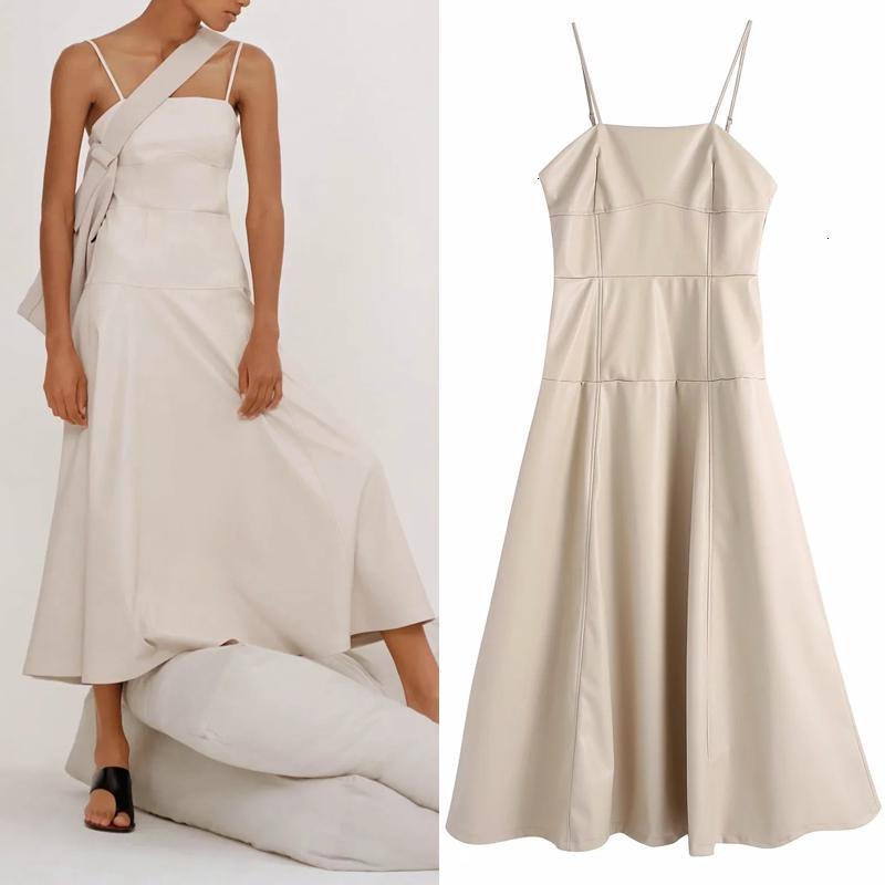 New Faux 2021 Leather Slip Midi Women Fashion A-line Sleeveless Backless Dress Woman High Street Sexy Ladies Dresses 3xp5 I1RW