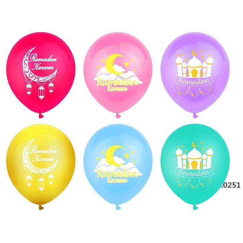 Ramadan Balloons 12 дюймов Латекс Ид Мубарак Воздушные шары Карем Рамадан Мубарак Мусульманский исламский фестиваль Партия DIY Украшения FWA3688