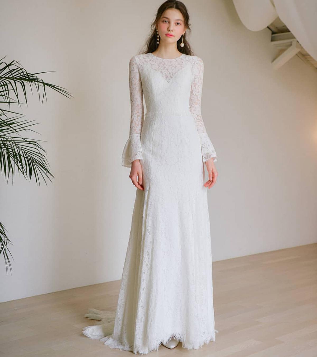 Elegant Full Lace Mermaid Wedding Dresses Bell Long Sleeve 2021 Jewel Neck Sweep Train Bride Formal Bridal Gowns Cheap Engagement Dress