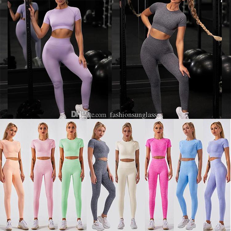 2020 del deporte del verano de las mujeres Logotipo púrpura del Dos de los cultivos de 2 Piezas camiseta superior sujetador polainas Sportsuit equipo de la aptitud del entrenamiento de yoga conjuntos de gimnasia