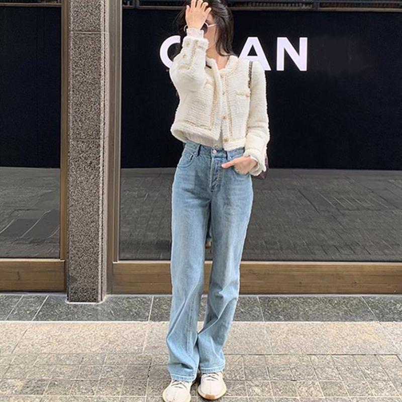 2021 Yeni Kadınlar Için Yüksek Bel Moda Casual Düz Pantolon Jeans BSHQ