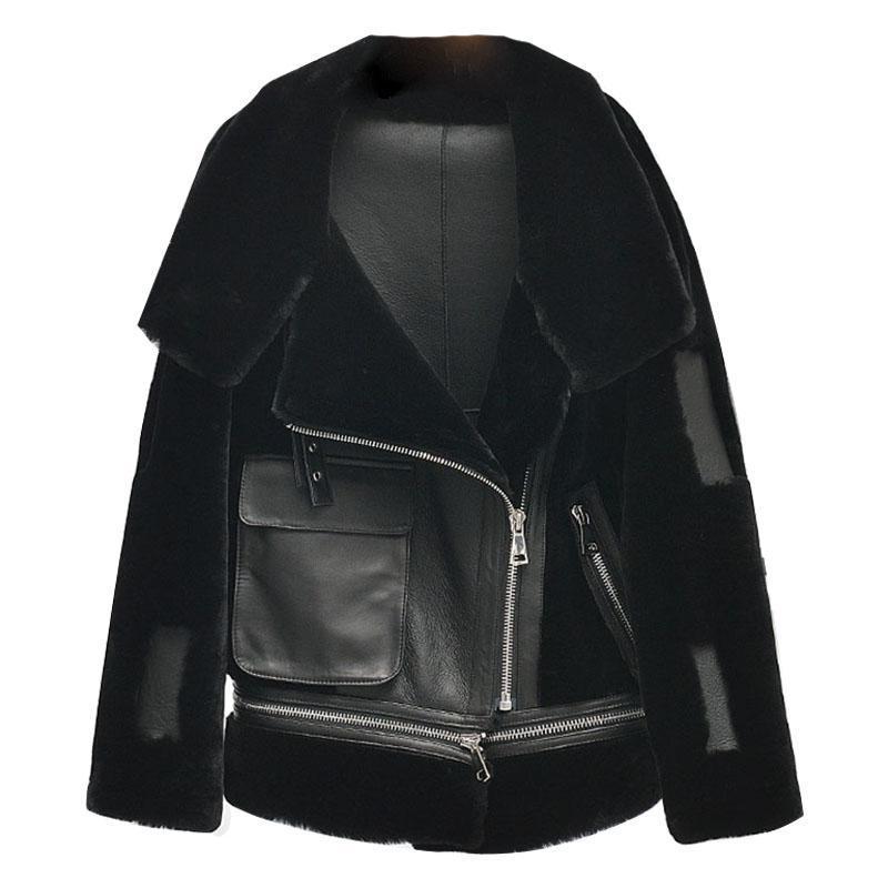 Abrigo de piel Real Genuino Natural Ovejas Abrigo de piel de mujer Mantena Manteau Femme Jacket Natural Ovejas Lanas Chaqueta Biker