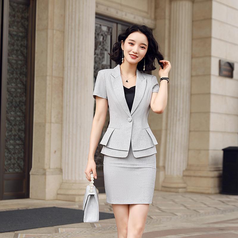 Izicfly style estival gris deux pièces manches courtes femmes jupe costume de costume formel design de bureau d'affaires élégant usure de travail