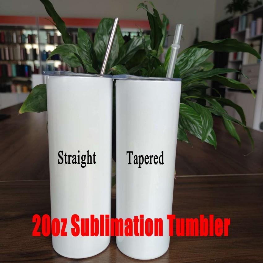 20oz diy sublimação reta / cônico tumblers transferência de calor impressão de aço inoxidável bebida de água com palha e tampa caneca