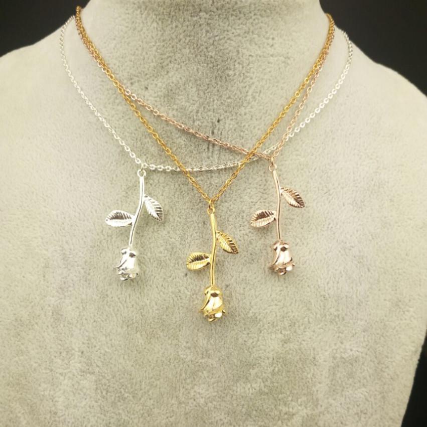 V Atraer Bijoux Femme Collier Pink Gold Rose Flor Declaración Collar Mujer Maxi Choker Boho Jewelry Día de San Valentín Regalo
