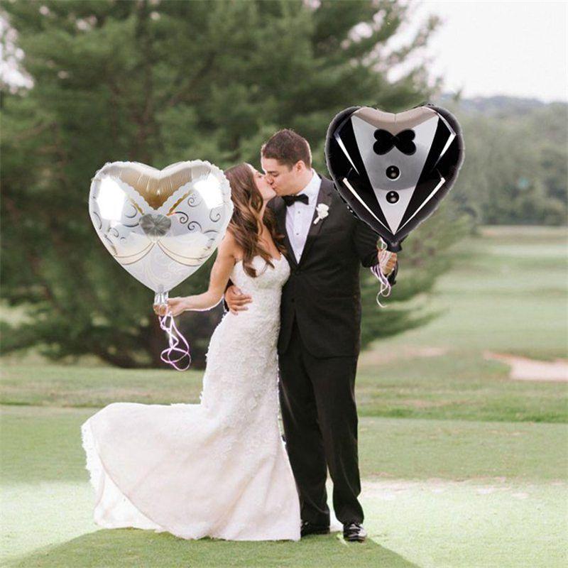 2pcs / 세트 신부와 신랑 낭만적 인 웨딩 드레스 호일 심장 풍선 웨딩 파티 장식 약혼 발렌타인 풍선