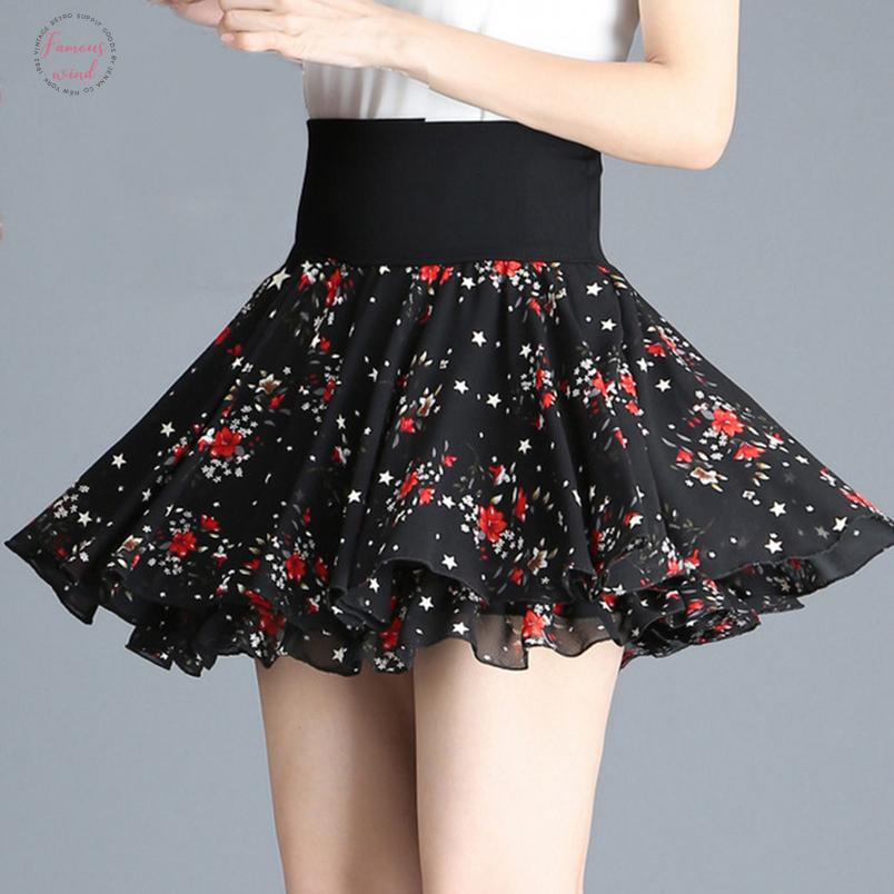 Elastico vita alta Swing Floral Chiffon Black Pleatte Gonne corte Estate Donne Kawaii Giapponese Girl School Mini Gonna Skirts C474