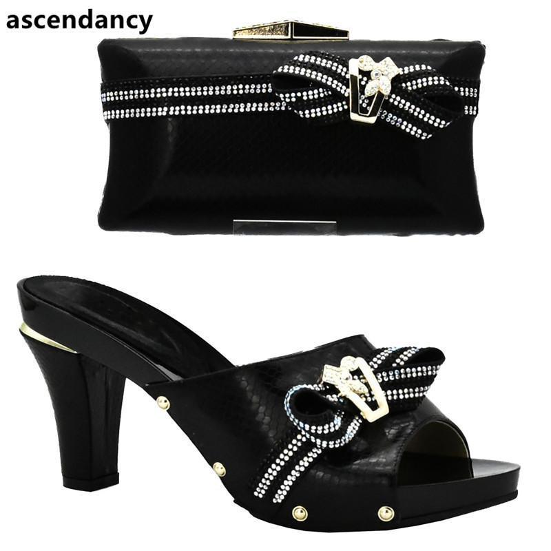 Sapatos de vestido mais recentes senhoras italianas e saco conjunto decorado com strass mulher sacos nigerianas
