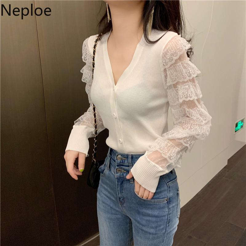 Neploe mulher magro malha costura ruffled de confecção de malhas Cardigans Único único breasted v-pescoço camisola casaco coreano jumper doce tops