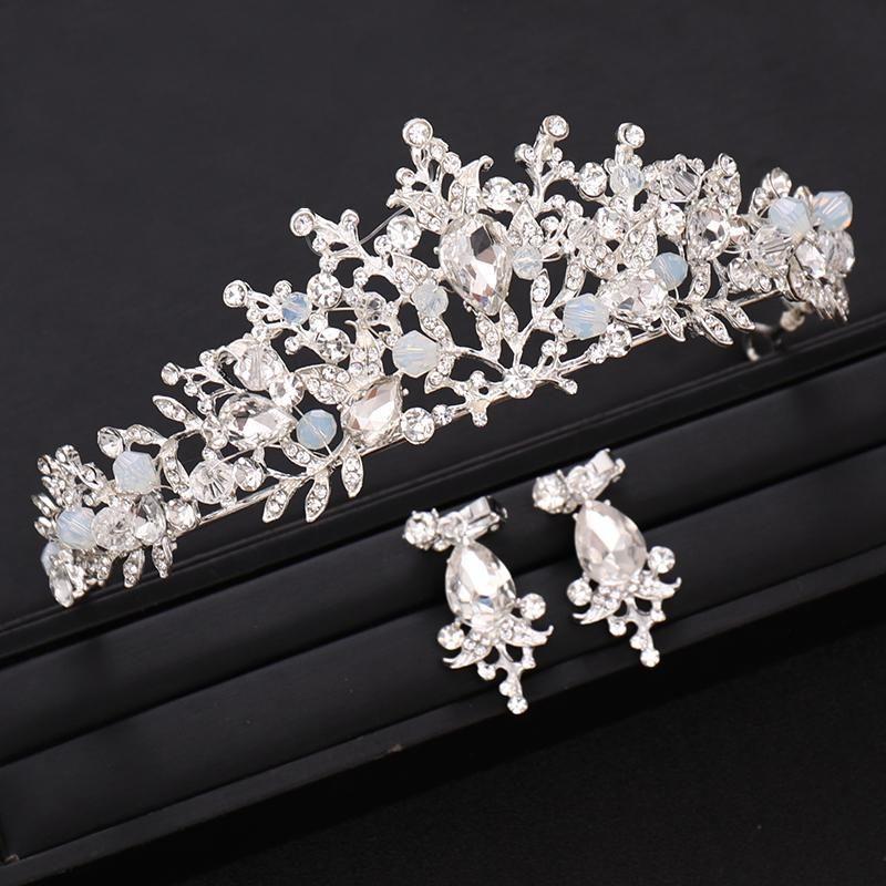 Hecho a mano novia Cristal Plateado Color Reina Crown Crown Princess Pein Pein Pein Acesories Wedding Hair Jewelry
