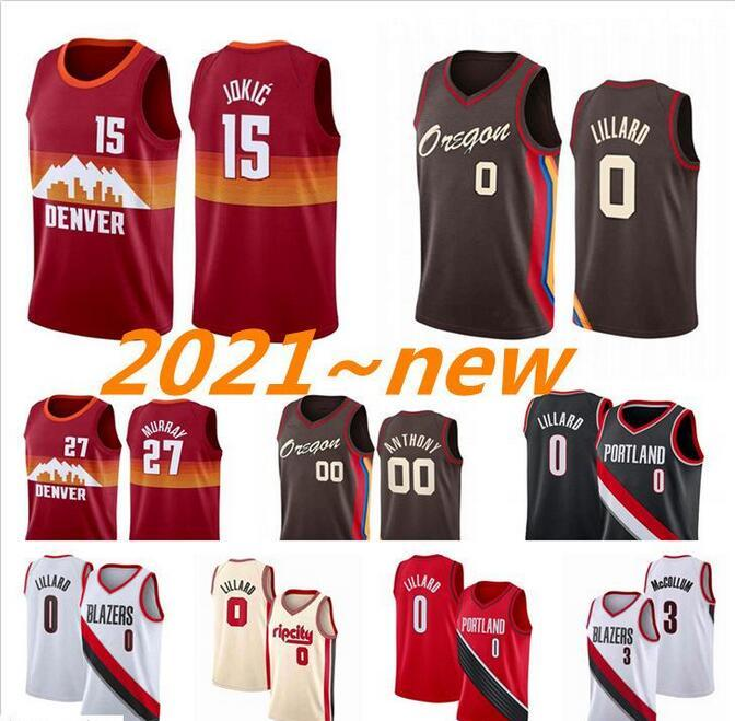 2021 jerseys de basquete Damian 0 lillard jersey \ rdenver \ r15 Jokic Jersey Jamal 27 Murray Carmelo 00 Anthony Nikola City Mens