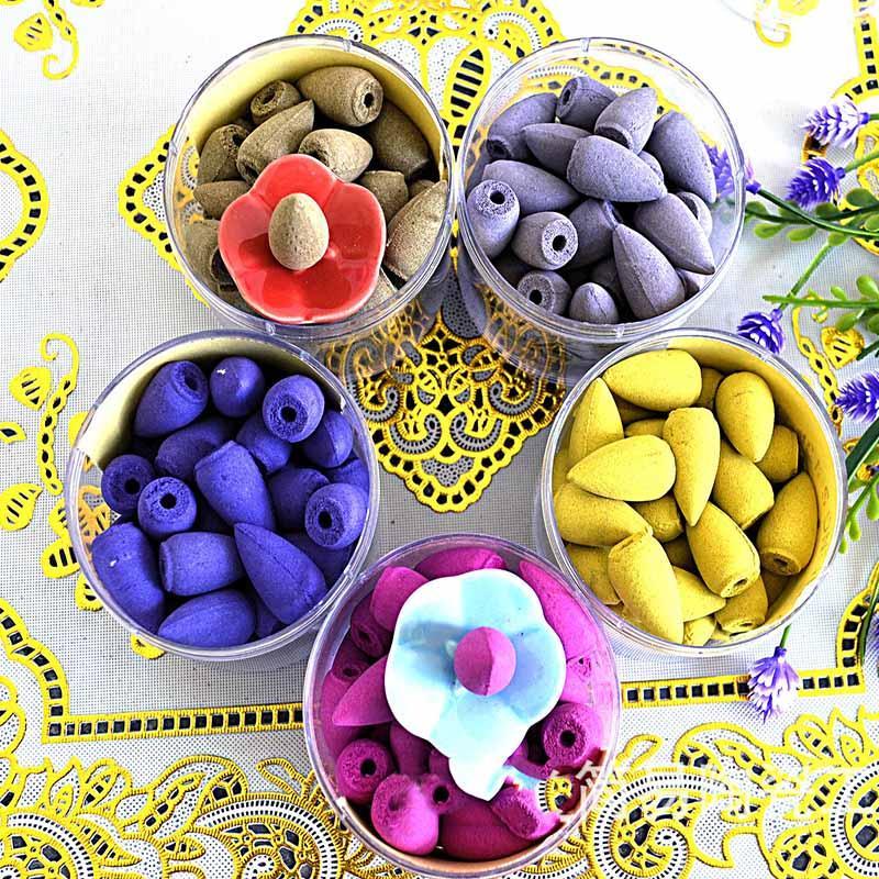 40 teile / box Natürliche Rauchrücklauf Backflow Kegel Weihrauch Indoor Aromatherapie Bullet Sandelholz Lavendel Jasmin in Box Tower ood5504
