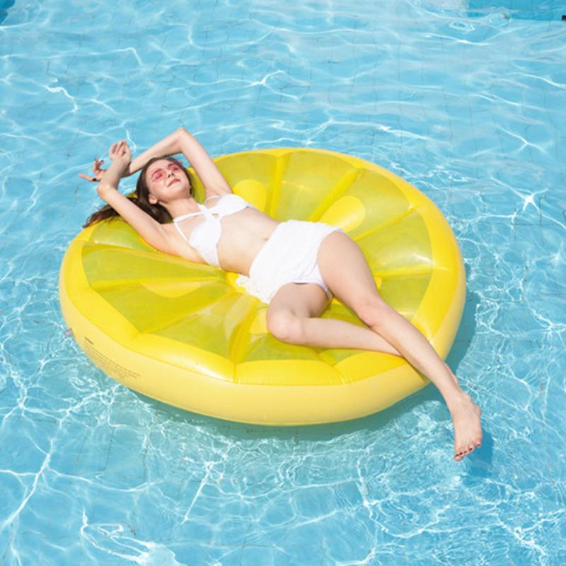 Inflatable Floats & Tubes Lemon Shape Float Bed Water Floating Cushion For Swimming Pool Thickened Summer Ring Seat Mattress Toys