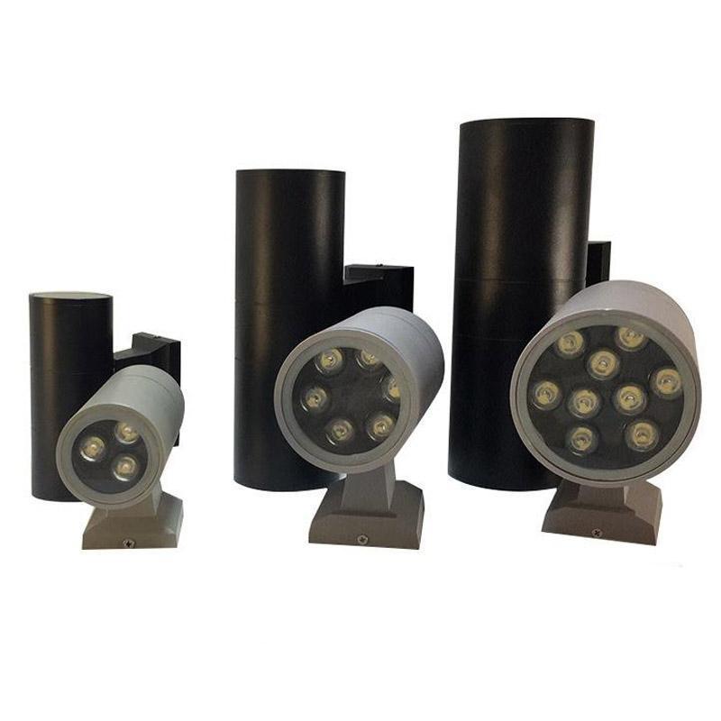 Светодиодный настенный свет на открытом воздухе 3W 6W 9W 12W 18W односпальная двойная головка света вверх по современному алюминиевому прожектору светодиодный декоративный лампа для наружного