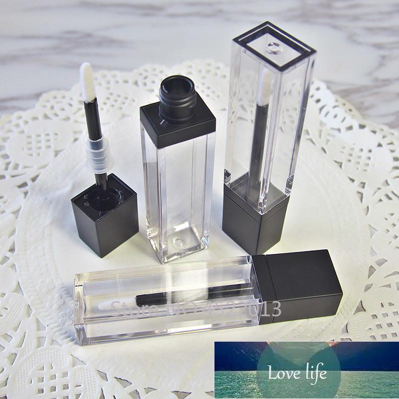 Tubo de brillo de labio transparente de 7 ml con labio negro helado, plástico cuadrado cosmético de lápiz labial de lápiz labial / pintura de labios Botella de aceite recargable