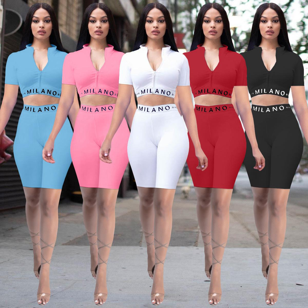 2021 Summer Sexy Womens Short Sleeve Suit Fashion Pure Color Slim letter print Short Sleeve Yoga Two Piece Sports Suit