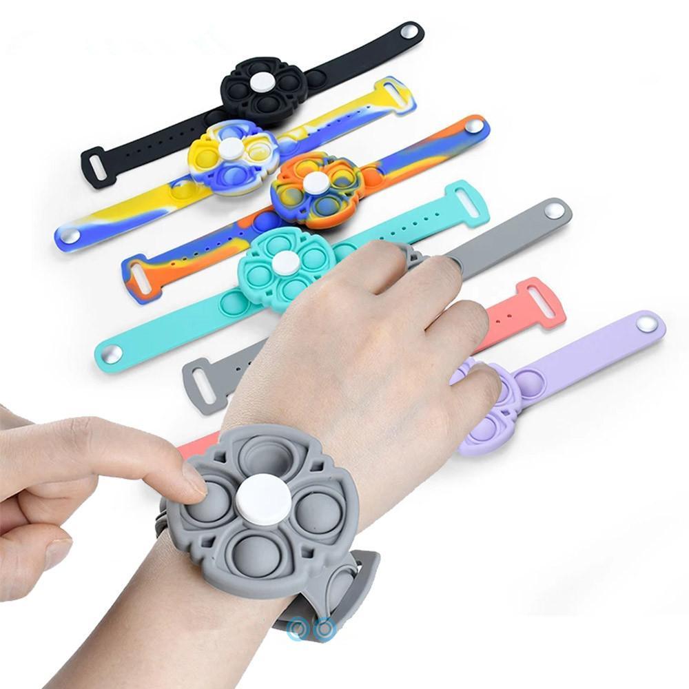 New Push Bubble Bracelet semplice Dimple Fidget It Spinner Toys Toys Silicone Handband Mano Fidget Sensory Unzip Braccialetti AntiTistress Commercio all'ingrosso