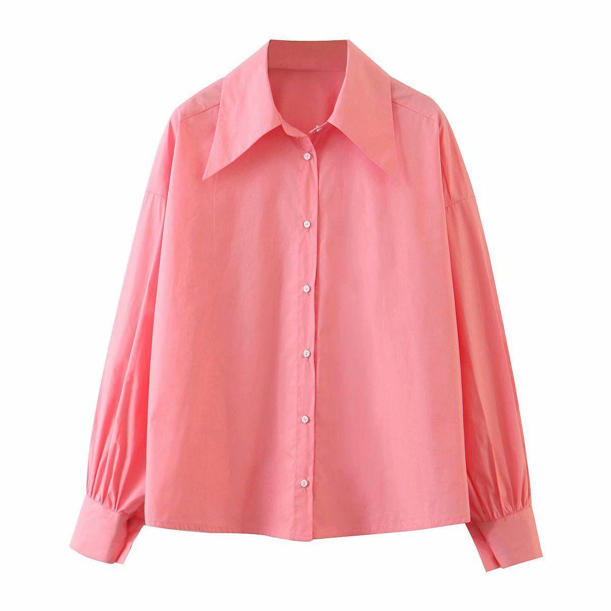 Kadın Bluzlar Erken Moda Stil Yaka Temel Kollu Gömlek PPCW