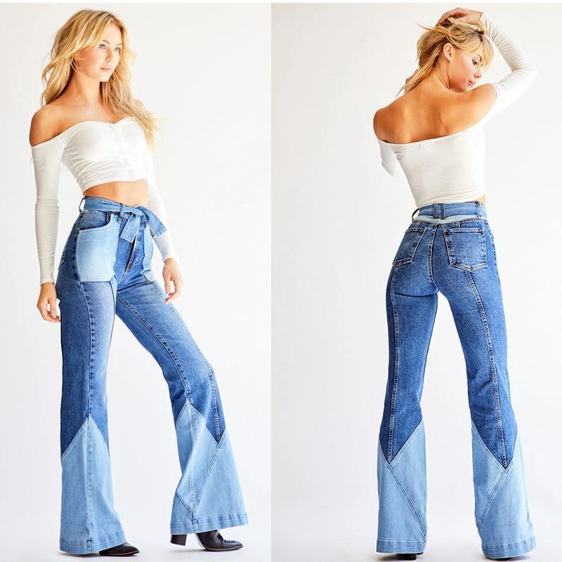 Women's Jeans 2021 High Waist Stitching Color Flare For Women Fashion Elastic Belt Denim Boot Cut Pants Street Trendy Trousers S-3XL