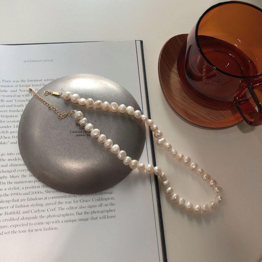 Coréen 925 Sterling Sier Collier Collier Baroque Collier Pearl Collier court