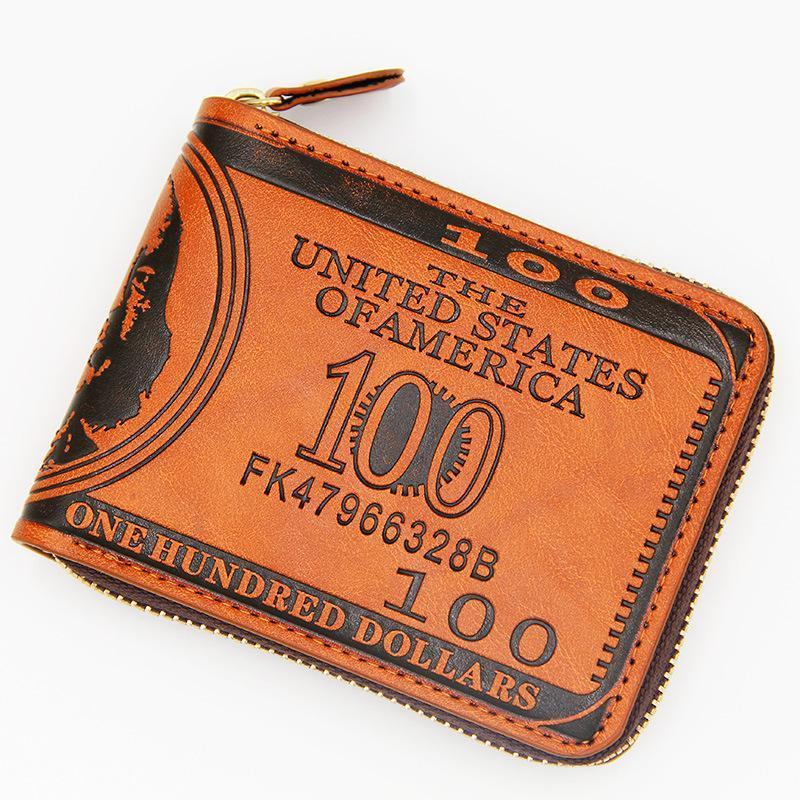 Carteras Men Soft PU Cuero con cremallera CLIENTE DE DINERO DE DINERO CON POLESTO DE MONEDA 2021 Tarjeta de regalo Bolsa de retención Bolsa Brown Dólar
