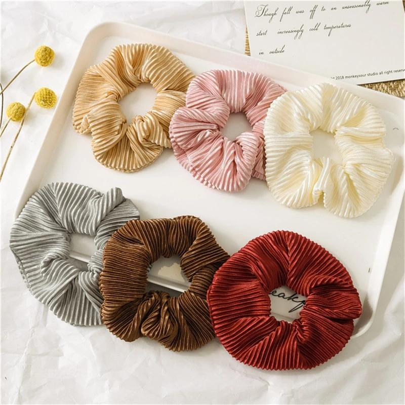 Katı Saç Bağları Zarif Yumuşak Scrunchies Kadın Saç Aksesuarları Hairband Kauçuk Band Bayanlar Hairband Saç Hoop Headwea