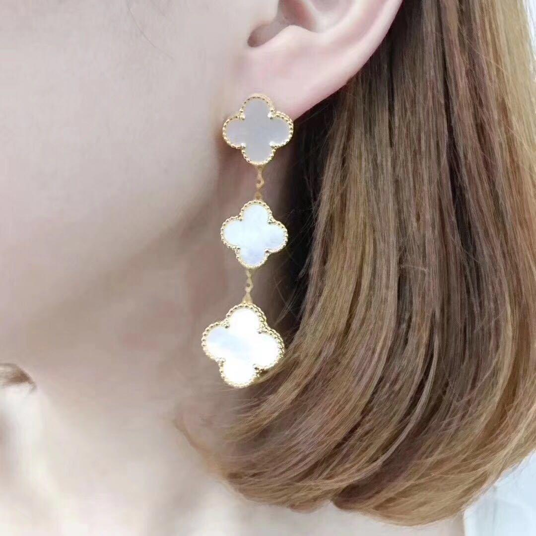 S925 Fashion Classic Sweet 4/Four Leaf Clover Charm Three Dangle Stud Earrings Real 18K Gold Plated Agate for Women&Girls Valentine's Mother's Day Engagement Jewelry