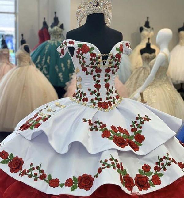 Fashion White and Red Floral Flowers Off Shoulder V neck Ruffles Gold Beads Ball Gowns Cheap Quinceanera Prom Formal Dress Vestidos 15 Anos