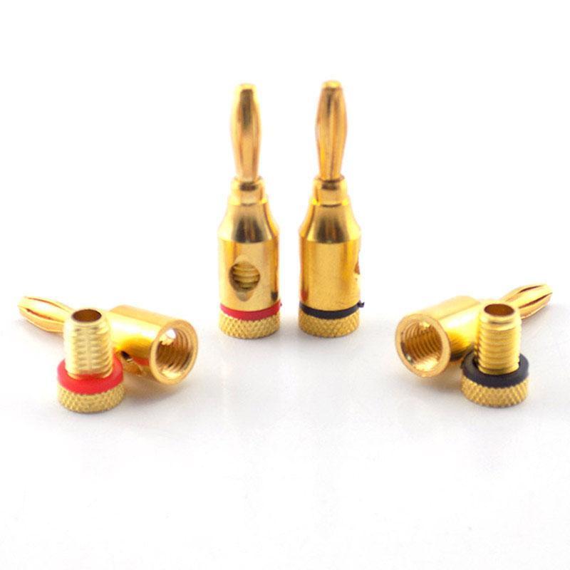 2021 الجملة bnc موصل 4MM موز التوصيل الموسيقية الكابلات الصوتية الصوت cutorerconector محول الذهب مطلي المتكلم كابل سلك دبوس