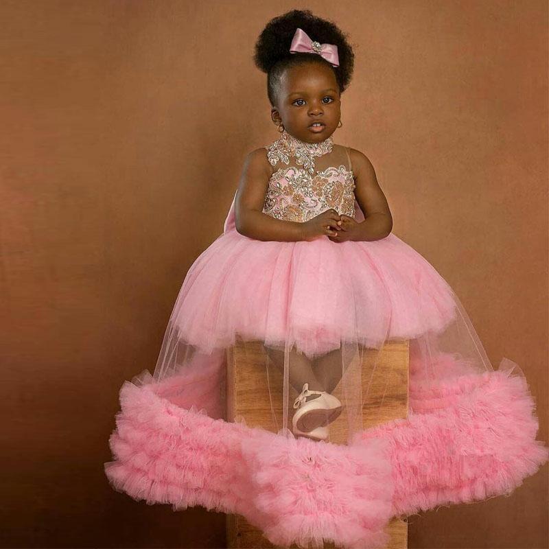 핑크 공 가운 꽃 소녀 드레스 결혼식을 봅니다 thro readed 뚱뚱한 작은 소녀 미인 드레스 유아 첫 번째 친교 가운