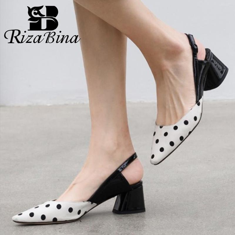 RIZABINA New Women High Heel Sandals Real Leather Mixed Color Summer Shoes Women Fashion Party Office Lady Footwear Size 33-40
