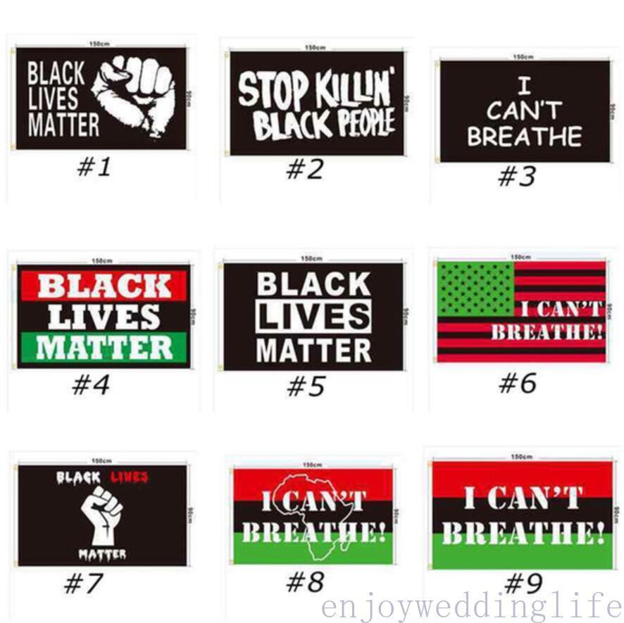 DHL Gemi 90x150 cm Siyah Hayatlar Madde Afiş Siyah Protesto Banner Ben Bayrak Amerikan Parade Bayrakları Nefes alamıyorum 200 adet