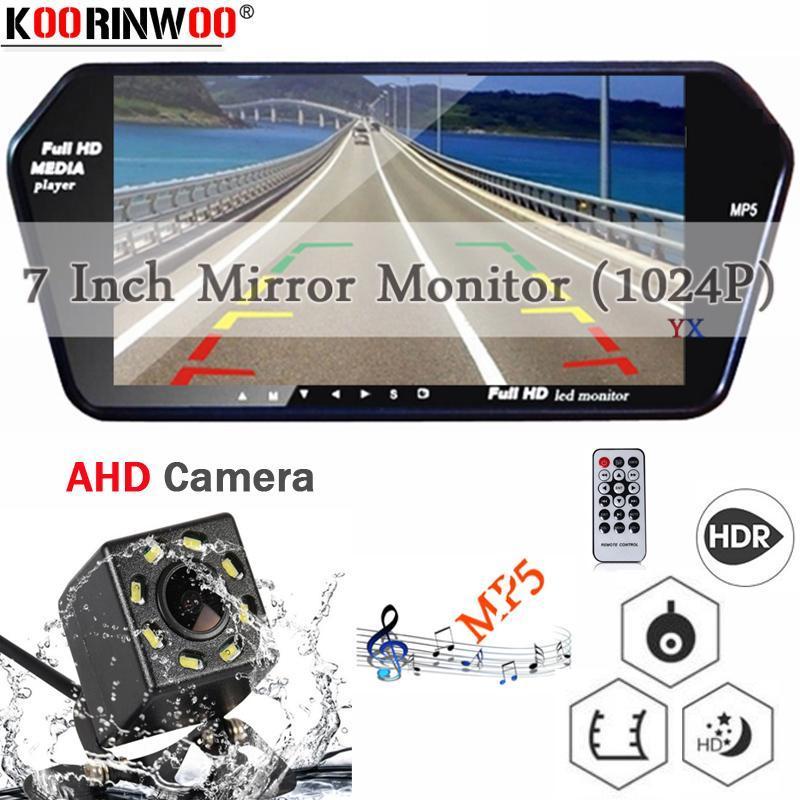 Video de automóviles Koorinwoo Multimedia Player HD 1024P Monitor de 7 pulgadas Pantalla Bluetooth MP5 Llamada Vista posterior Vista trasera Detector de copia de seguridad