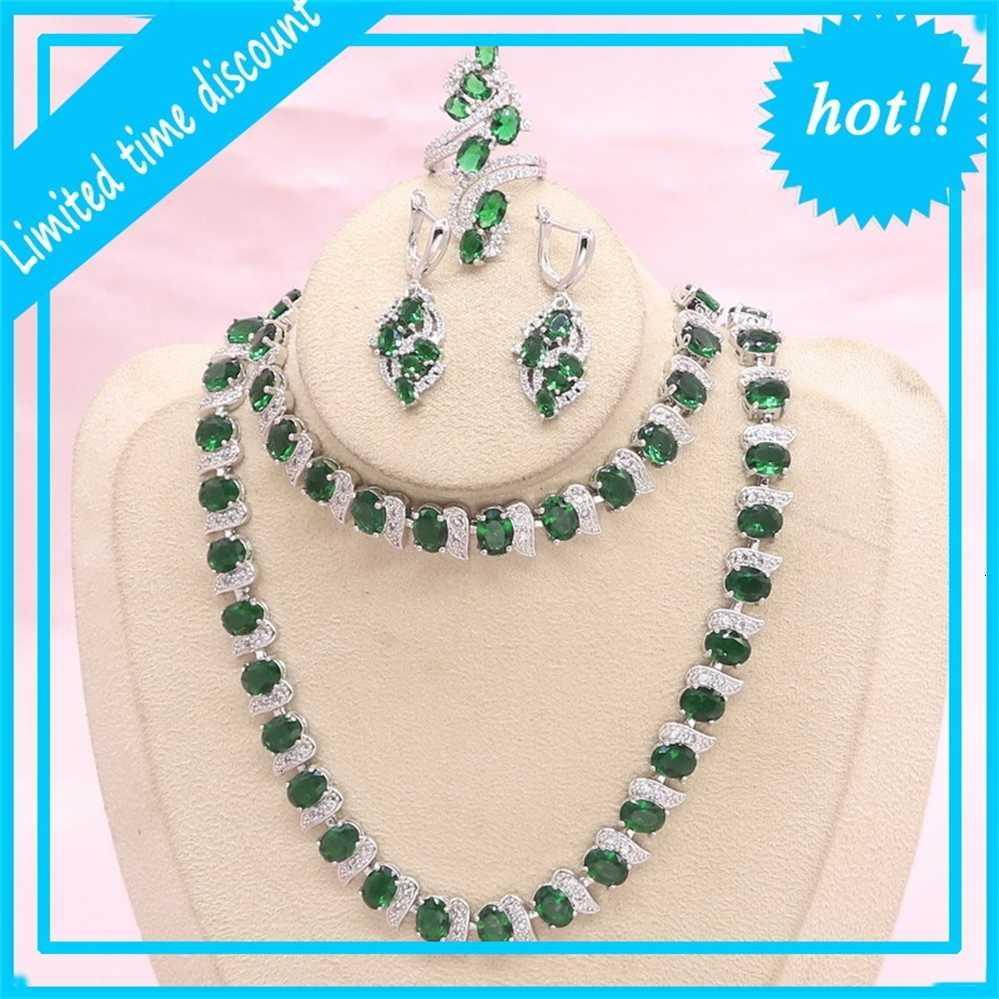 Серебряные наборы цвета для женщин Зеленые полудрагоценные камни Невесты Ювелирные Изделия Серьги Серьги Браслет Подарочная коробка