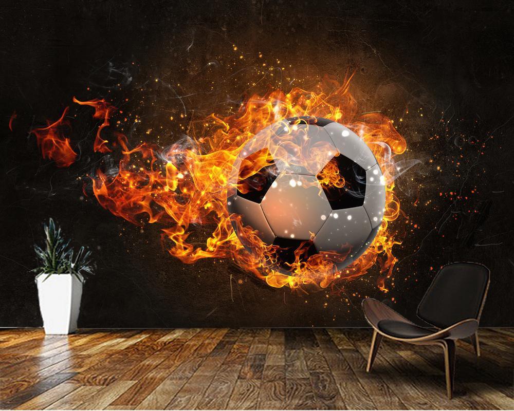 Wallpapers Custom Children Wallpaper,Ball Burning In Fire Mural For The Living Room Bedroom TV Backdrop Waterproof Wallpaper