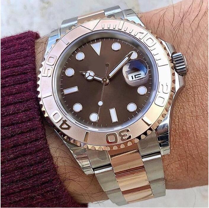 Мужские часы стиль яхты 40 мм серебряный циферблат мастер автоматические механические часы Sapphire стекло классическая модель складной пряжки застежка на наручные часы