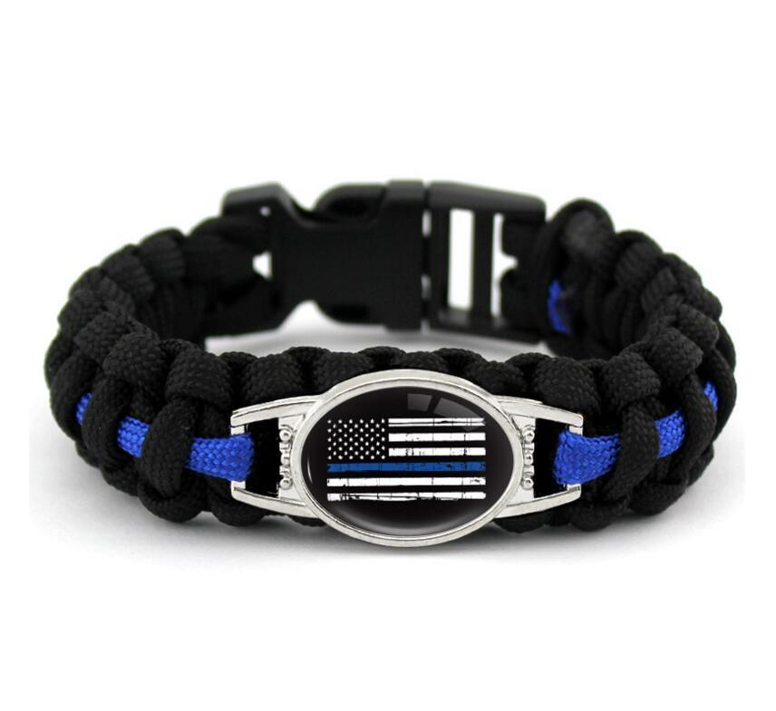 Black Blue Dünn blau Linie Amerikanische Flagge Zurück Die Blaue Polizei Paracord Survival Armbänder Outdoor Self Survival Camping Armband
