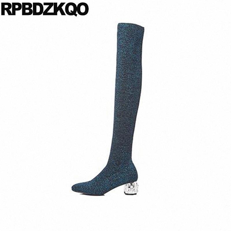 Punto azul zapatos muslo altas botas para talla grande mujeres calcetín de calcetín rhinestone chunky 41 señoras perla 10 estirar sobre la rodilla delgado grande A0tu #