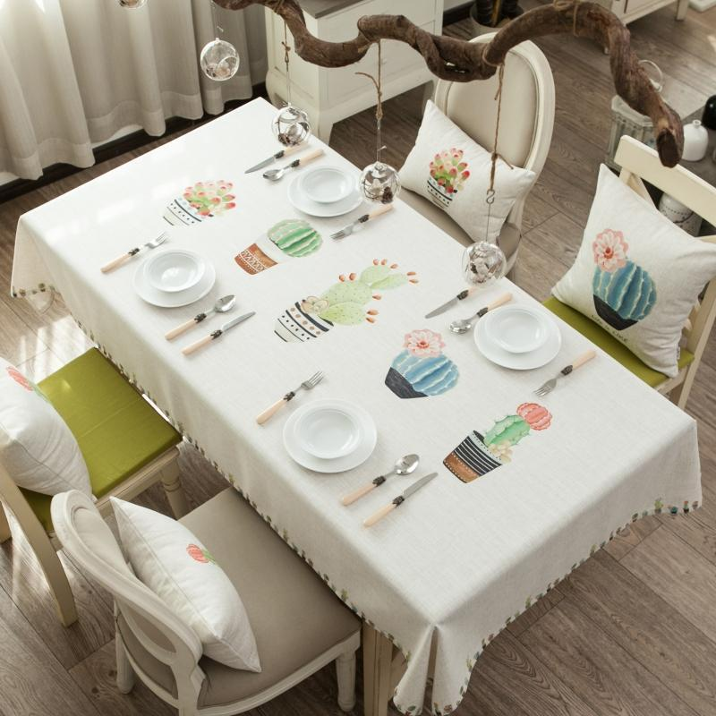 RZCORTINAS masa örtüsü dikdörtgen düğün parti Noel masa örtüsü bitki kaktüs bonsai masa örtüsü pamuk keten masa örtüleri